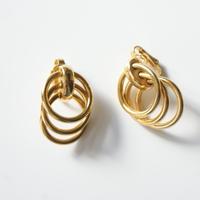TRIFARIクラウントリファリ 三つの輪 フープ リンク イヤリング / ヴィンテージ・コスチュームジュエリー