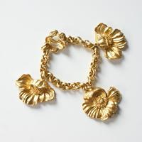 KENZOケンゾー アネモネ フラワー マット ゴールド ブレスレット / ヴィンテージ・コスチュームジュエリー