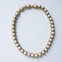 TRIFARIクラウントリファリ ホワイト ガラス ネックレス / ヴィンテージ・コスチュームジュエリー