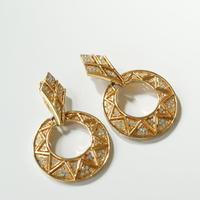 Special price【スペシャル プライス】 ゴールドフープ ラインストーン イヤリング/ ヴィンテージ ・コスチュームジュエリー
