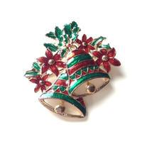 Christmas Special price【スペシャルプライス】ベル&ポインセチア エナメル グリーン×レッド クリスマスブローチ / ヴィンテージアクセサリー