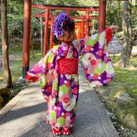 【レンタル】2 ステップ着物(7歳用牡丹花柄)