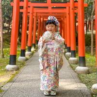 【レンタル】2 ステップ着物(7歳用マーガレット柄)