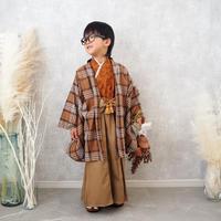 【レンタル】2 ステップ袴(5歳用ブラウンチェック)