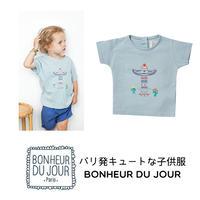 BONHEUR DU JOUR パリの子供服 刺繍&プリント入りTシャツ(17013)