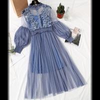 パフスリーブ刺繍ガーリーワンピース  シースルー 花柄 フラワー バルーン袖 結婚式 ウエディング お呼ばれ パーティー ドレス ロング  大きいサイズ  春 長袖 ブルー 青