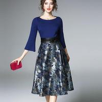 ジャガード織花柄ワンピース フレアスリーブ フラワー 切り替えワンピース 結婚式 同窓会 お呼ばれ  ドレス 大きいサイズ 青 ブルー ネイビー きれいめ