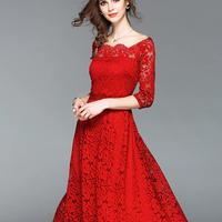 総レースワンピース 結婚式 パーティー ドレス ロング オフショルダー オフショル 大きいサイズ 春  夏 シンプル フォーマル レッド 赤