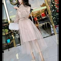 パフスリーブ刺繍ガーリーワンピース  シースルー 花柄 フラワー バルーン袖 結婚式 ウエディング お呼ばれ パーティー ドレス ロング  大きいサイズ  春 長袖 ピンク
