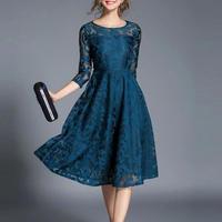 レ―スワンピース  パーティードレス 結婚式 お呼ばれ 二次会 ミモレ丈 ドレス ロング 大きいサイズ   青 ブルー 七分袖