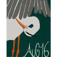 【日本画】8/16 Grey heronアオサギ『366DAYS』