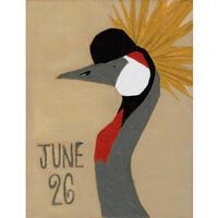 【日本画】6/26 Grey crowned craneホオジロカンムリヅル『366DAYS』