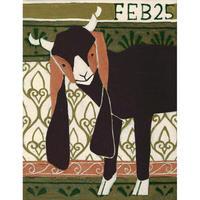 【日本画】2/25 Long eared goatミミナガヤギ『366DAYS』