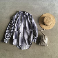 Yarmo  Band Collar Shirts Candy Stripe(Navy)