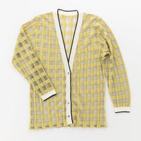 transparent check cardigan