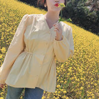 【春の新作】Pastel Blouse【Yellow 】