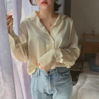 【春の新作】Silky Blouse 【Yellow 】