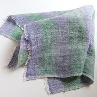 タイ・ルー族の手織りコットン ましかく大判タオル D