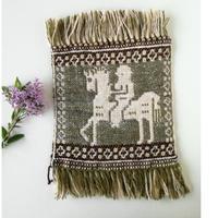 ヤノフ村の織物 ミニタペストリー 馬に乗る村人(20×20cm) #2289