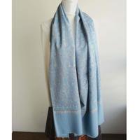 ソズニ刺繍のウールストール:ブルーグレー