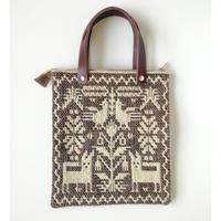 ヤノフ村の織物 ミニトートバッグ  動物と幾何学模様 #2392