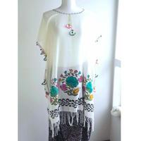 トルコ 木版バスク&手編みオヤのチュニック 青緑の花とカーネーション