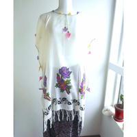 トルコ 木版バスク&手編みオヤのチュニック 紫の花とブドウ