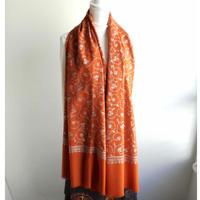 ソズニ刺繍のウールストール:オレンジ