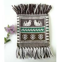 ヤノフ村の織物 ミニタペストリー 向かいあう鳥(18×18cm)#2340