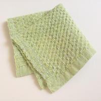 タイ・ルー族の手織りコットンワッフルタオル 藍の生葉染め