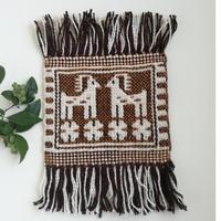 ヤノフ村の織物 ミニタペストリー 向かいあう鹿(20×17cm)#2332