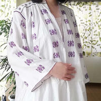 ルーマニア 紫の刺繍ワンピース