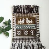 ヤノフ村の織物 ミニタペストリー 向かいあう鳥(19×20cm)#2334