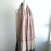 ソズニ刺繍のウールストール:グレー
