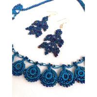 トルコのビーズアクセサリー  ネックレス+ピアスセット ブルー