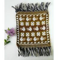 ヤノフ村の織物 ミニタペストリー(20×21cm)鳥と幾何学模様 #2425