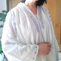 ルーマニア 水色刺繍ワンピース