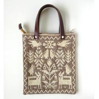 ヤノフ村の織物 ミニトートバッグ   動物と幾何学模様#2390