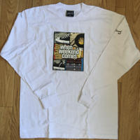 WHEN WEEKEND COMES BLACK!!! : L/S Tee (White) -size L-