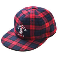 TARTAN CHECK 6 PANEL CAP (RED)