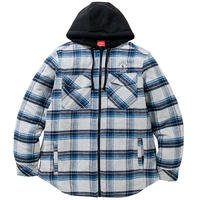 QUILTED FLANNEL ZIP HOODIE (BLUE)