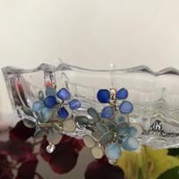 フックピアス 紫陽花 ブルー