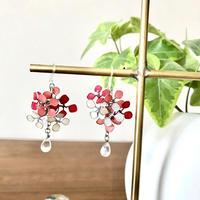紫陽花としずく ピンク フックピアス