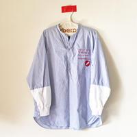 ストライプスキッパー異素材ドッキングシャツ/SAX×WHITE