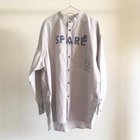 バンドカラービッグチェックシャツ/GREY×BLUE