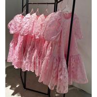 シルクジャガードパフスリーブドレス ladies  2カラー
