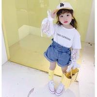 ★リボン付レース袖Tシャツ★2カラー
