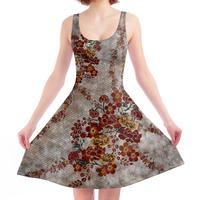 flower emblem A-line dress