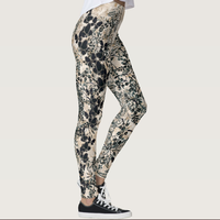 Blue Butterfly white leggings