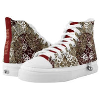 Japanese traditional emblem red HIGH TOP SHOES
